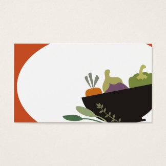 Cartão De Visitas ervas vegetais da bacia que cozinham o negócio