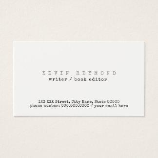 Cartão De Visitas escritor/editor brancos básicos limpos & mínimos