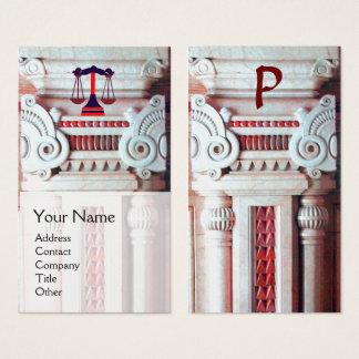 Cartão De Visitas ESCRITÓRIO LEGAL de JUSTIÇA, branco vermelho do