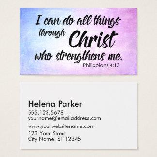 Cartão De Visitas Escritura cor-de-rosa e azul do 4:13 dos