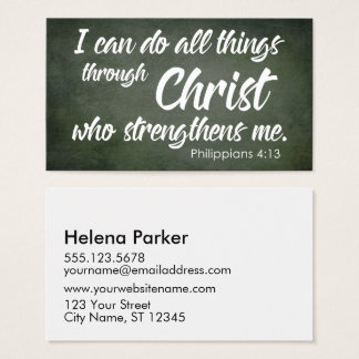 Cartão De Visitas Escritura rústica do 4:13 dos Philippians da