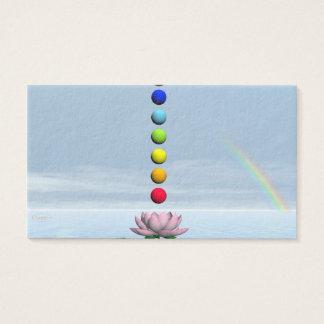 Cartão De Visitas Esferas coloridas para chakras em cima do lírio