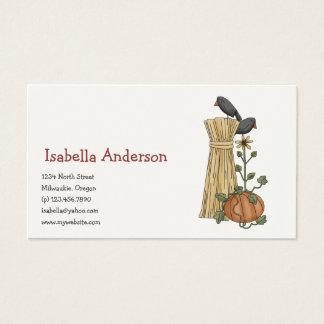 Cartão De Visitas Espantalhos do outono · Corvo & abóbora