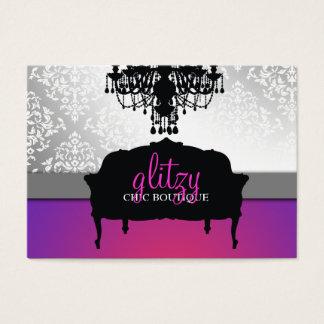 Cartão De Visitas Esplendor chique chamativo do roxo do boutique 311