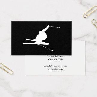 Cartão De Visitas Esquiador em declive preto e branco