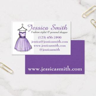 Cartão De Visitas Estilista roxo do cliente da forma do boutique do