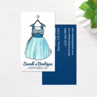Cartão De Visitas Estilo azul do boutique da forma da loja de