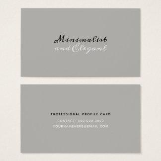 Cartão De Visitas Estilo minimalista & elegante do roteiro em cinzas