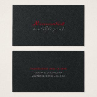 Cartão De Visitas Estilo minimalista & elegante do roteiro no preto