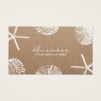 Cartão De Visitas Estrela do mar do tema da praia & Seashells Kraft