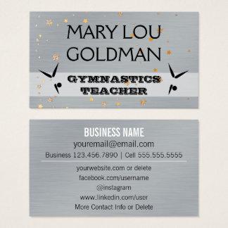 Cartão De Visitas Estrela social do ouro da prata do professor da