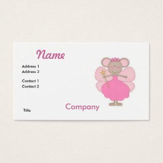 Cartão De Visitas Fada cor-de-rosa bonito do rato