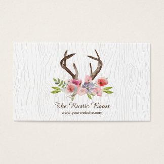Cartão De Visitas Falso Bois dos Wildflowers dos Antlers dos cervos