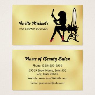 Cartão De Visitas Falso glamoroso ouro e boutique do cabelo da