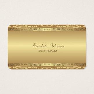Cartão De Visitas Falso moderno à moda elegante ouro, damasco