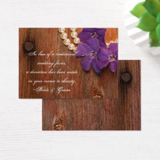 Cartão De Visitas Favor de madeira da caridade do casamento do