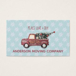 Cartão De Visitas Feliz Natal do caminhão do brinquedo do amor & da