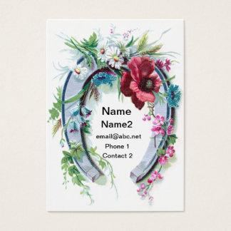 Cartão De Visitas Ferradura e papoila afortunadas