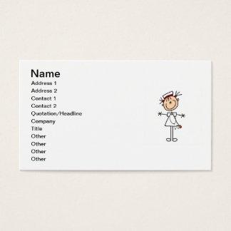 Cartão De Visitas Figura fêmea branca enfermeira 2 da vara