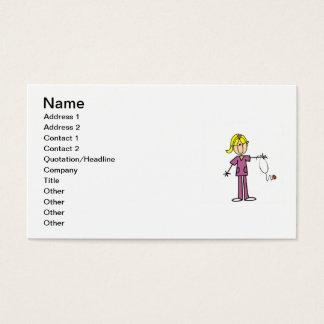 Cartão De Visitas Figura fêmea loura t-shirt da vara da enfermeira