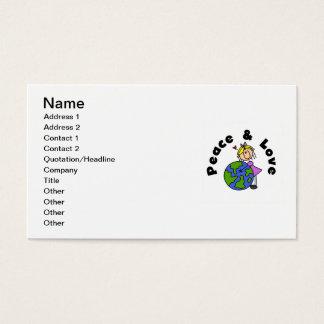 Cartão De Visitas Figura paz da vara da menina e t-shirt e presente