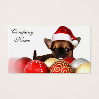 Cartão De Visitas Filhote de cachorro da chihuahua do Natal