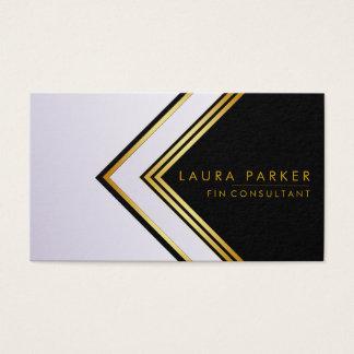 Cartão De Visitas Finança geométrica do ouro azul retro moderna