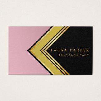 Cartão De Visitas Finança geométrica do ouro cor-de-rosa retro