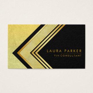 Cartão De Visitas Finança geométrica do ouro preto retro moderna