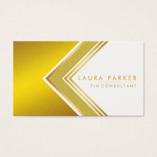 Cartão De Visitas Finança geométrica profissional moderna do ouro