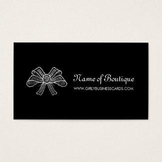 Cartão De Visitas Fita preto e branco do laço do boutique feminino
