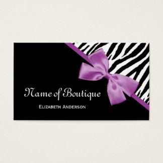 Cartão De Visitas Fita preto e branco do roxo da zebra do boutique