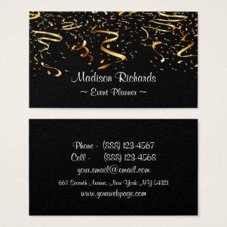 Cartão De Visitas Fitas dos confetes do ouro do falso do planejador