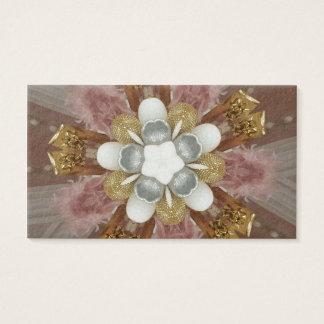 Cartão De Visitas Flor branca do ouro cor-de-rosa antigo elegante