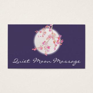 Cartão De Visitas Flor de cerejeira e lua do rosa dos termas do