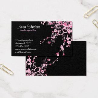 Cartão De Visitas Flor de cerejeira, flores de Sakura - preto
