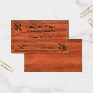 Cartão De Visitas Flor de lis de madeira embutida