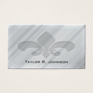 Cartão De Visitas Flor de lis de mármore cinzenta do falso