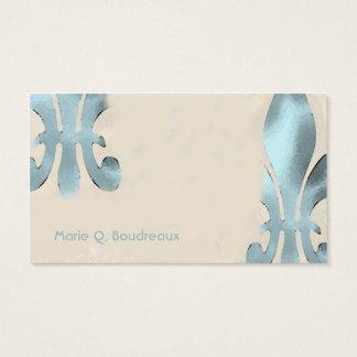 Cartão De Visitas Flor de lis do verde do estilo do vintage