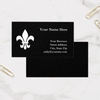 Cartão De Visitas Flor de lis preto e branco
