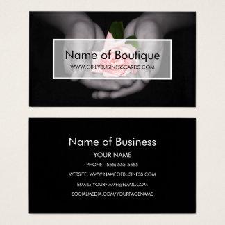Cartão De Visitas Flor elegante do rosa do rosa no boutique das mãos