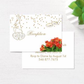 Cartão De Visitas Floral alaranjado brilhante - recepção