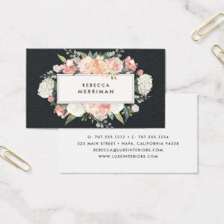Cartão De Visitas Floral antigo cora & carvão vegetal