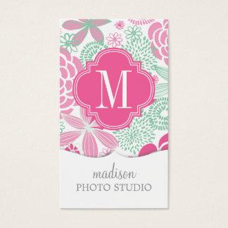 Cartão De Visitas Floral feminino do verde cor-de-rosa fúcsia da