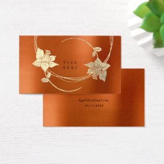 Cartão De Visitas Floral metálico do ouro mais foxier alaranjado do