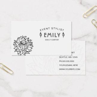 Cartão De Visitas Floral preto e branco chique elegante