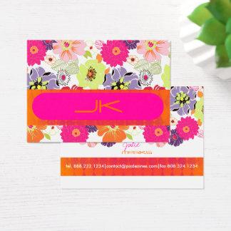 Cartão De Visitas ~ floral retro Alegre de PixDezines