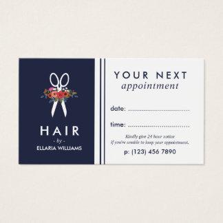 Cartão De Visitas Floral Scissor a nomeação do cabeleireiro dos