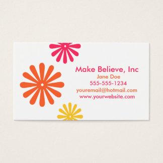 Cartão De Visitas Flores alaranjadas e amarelas cor-de-rosa