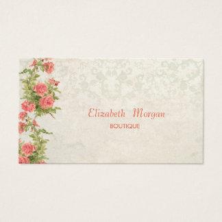 Cartão De Visitas Flores chiques do vintage, laço
